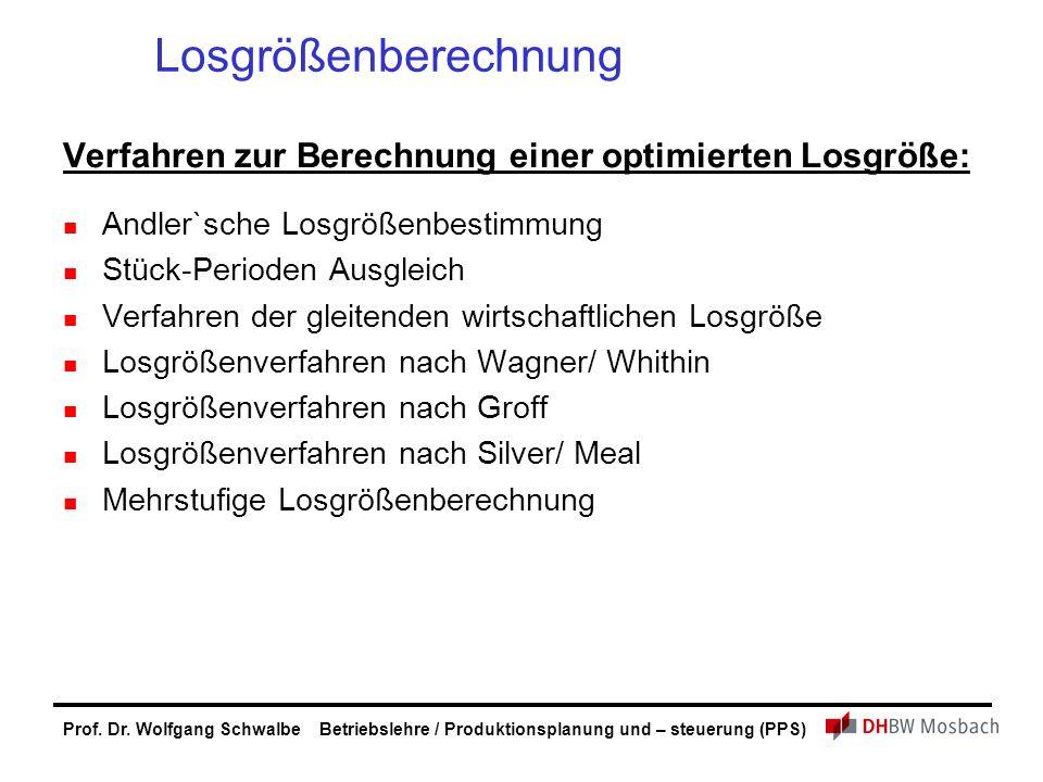 Prof. Dr. Wolfgang Schwalbe Betriebslehre / Produktionsplanung und – steuerung (PPS) Losgrößenberechnung Verfahren zur Berechnung einer optimierten Lo