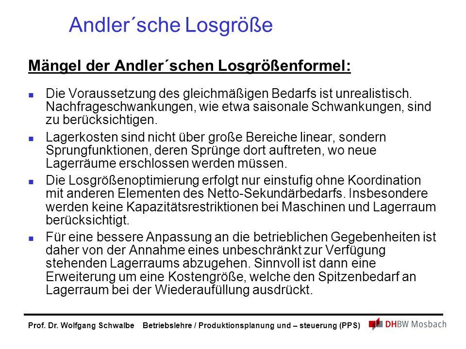 Prof. Dr. Wolfgang Schwalbe Betriebslehre / Produktionsplanung und – steuerung (PPS) Andler´sche Losgröße Mängel der Andler´schen Losgrößenformel: Die