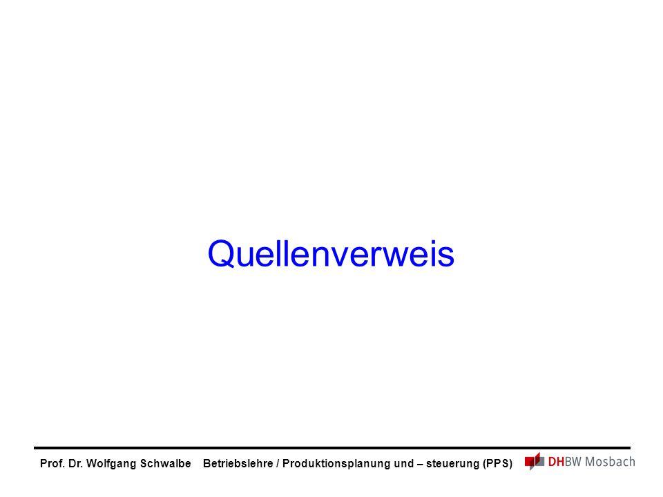 Prof. Dr. Wolfgang Schwalbe Betriebslehre / Produktionsplanung und – steuerung (PPS) Quellenverweis