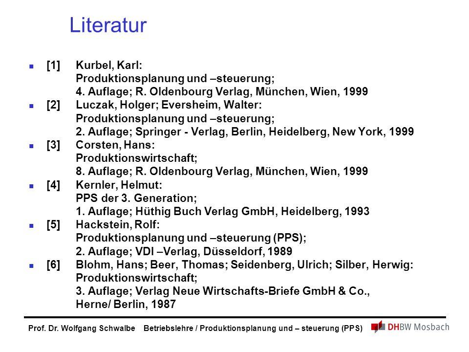 Prof. Dr. Wolfgang Schwalbe Betriebslehre / Produktionsplanung und – steuerung (PPS) Literatur [1]Kurbel, Karl: Produktionsplanung und –steuerung; 4.