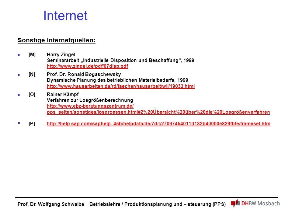 Prof. Dr. Wolfgang Schwalbe Betriebslehre / Produktionsplanung und – steuerung (PPS) Internet Sonstige Internetquellen: [M]Harry Zingel Seminararbeit