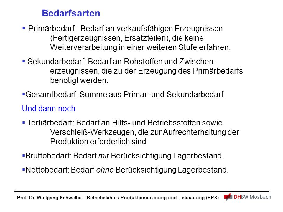 Prof. Dr. Wolfgang Schwalbe Betriebslehre / Produktionsplanung und – steuerung (PPS) Bedarfsarten  Primärbedarf: Bedarf an verkaufsfähigen Erzeugniss