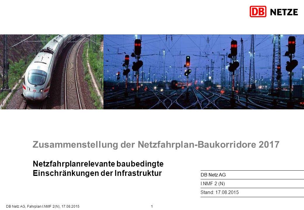 1DB Netz AG, Fahrplan I.NMF 2(N), 17.08.2015 Zusammenstellung der Netzfahrplan-Baukorridore 2017 Netzfahrplanrelevante baubedingte Einschränkungen der