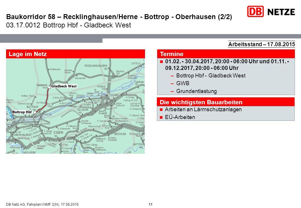 11DB Netz AG, Fahrplan I.NMF 2(N), 17.08.2015 Baukorridor 58 – Recklinghausen/Herne - Bottrop - Oberhausen (2/2) 03.17.0012 Bottrop Hbf - Gladbeck Wes