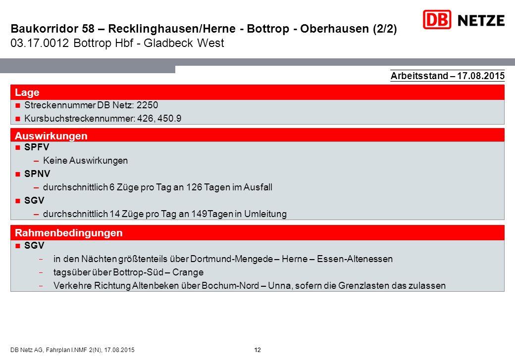 12DB Netz AG, Fahrplan I.NMF 2(N), 17.08.201512 SGV  in den Nächten größtenteils über Dortmund-Mengede – Herne – Essen-Altenessen  tagsüber über Bot