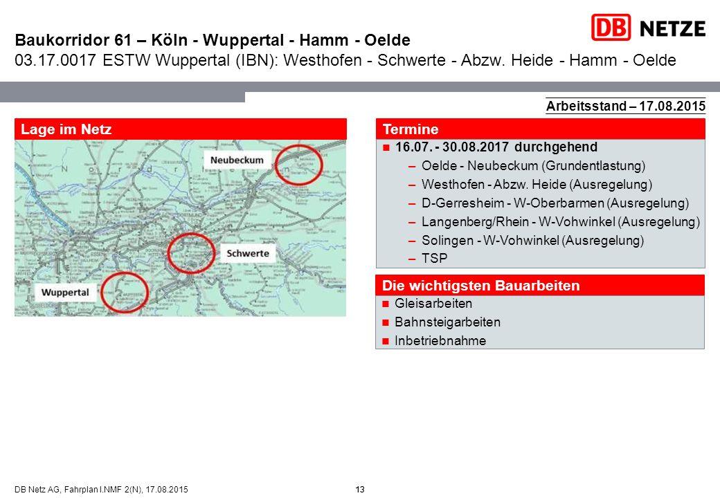 13DB Netz AG, Fahrplan I.NMF 2(N), 17.08.2015 Baukorridor 61 – Köln - Wuppertal - Hamm - Oelde 03.17.0017 ESTW Wuppertal (IBN): Westhofen - Schwerte -