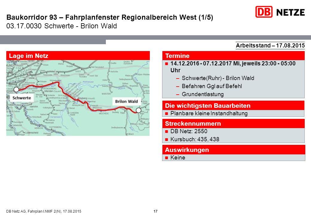 17DB Netz AG, Fahrplan I.NMF 2(N), 17.08.2015 Baukorridor 93 – Fahrplanfenster Regionalbereich West (1/5) 03.17.0030 Schwerte - Brilon Wald 17 Arbeits