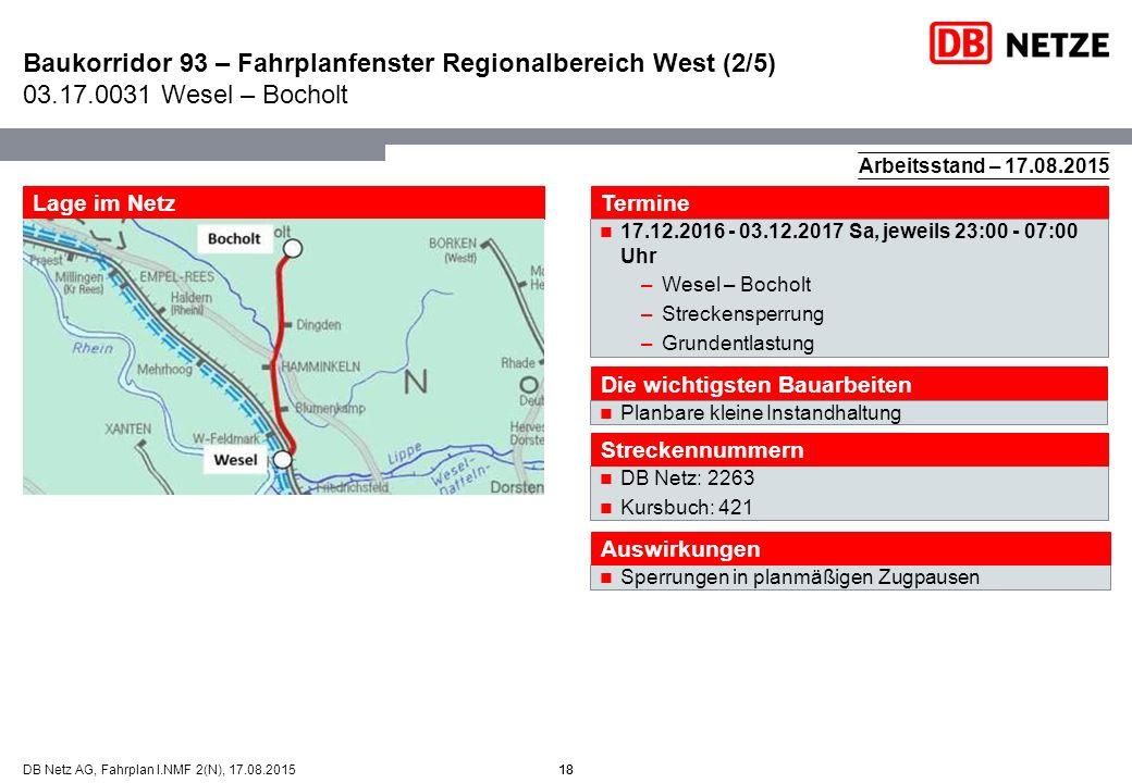 18DB Netz AG, Fahrplan I.NMF 2(N), 17.08.2015 Baukorridor 93 – Fahrplanfenster Regionalbereich West (2/5) 03.17.0031 Wesel – Bocholt 18 Arbeitsstand –