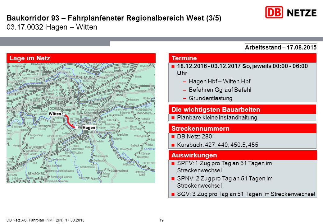 19DB Netz AG, Fahrplan I.NMF 2(N), 17.08.2015 Baukorridor 93 – Fahrplanfenster Regionalbereich West (3/5) 03.17.0032 Hagen – Witten 19 Arbeitsstand –