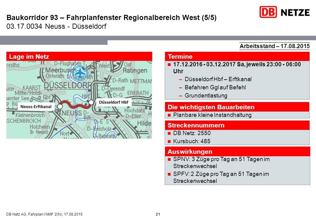 21DB Netz AG, Fahrplan I.NMF 2(N), 17.08.2015 Baukorridor 93 – Fahrplanfenster Regionalbereich West (5/5) 03.17.0034 Neuss - Düsseldorf 21 Arbeitsstan