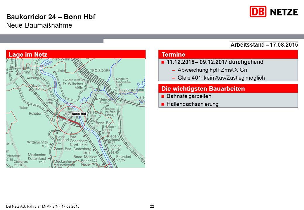 22DB Netz AG, Fahrplan I.NMF 2(N), 17.08.201522 Arbeitsstand – 17.08.2015 Lage im Netz Termine 11.12.2016 – 09.12.2017 durchgehend –Abweichung Fpl f Z