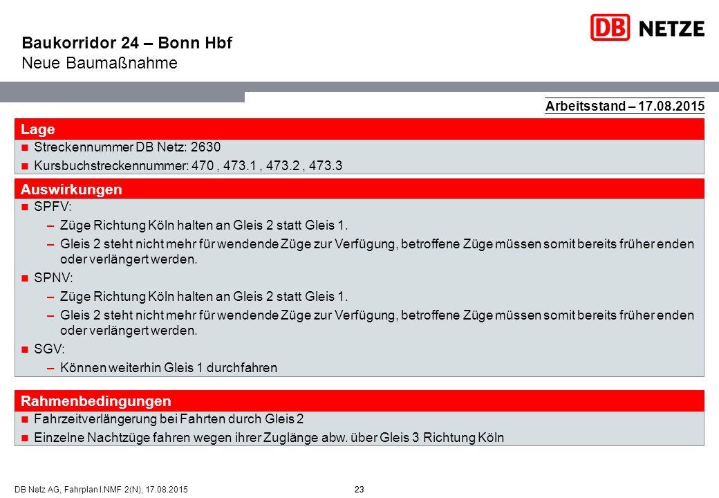 23DB Netz AG, Fahrplan I.NMF 2(N), 17.08.201523 Arbeitsstand – 17.08.2015 Fahrzeitverlängerung bei Fahrten durch Gleis 2 Einzelne Nachtzüge fahren weg