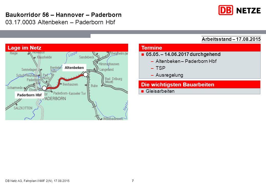 7DB Netz AG, Fahrplan I.NMF 2(N), 17.08.2015 Baukorridor 56 – Hannover – Paderborn 03.17.0003 Altenbeken – Paderborn Hbf 7 Lage im Netz Termine 05.05.