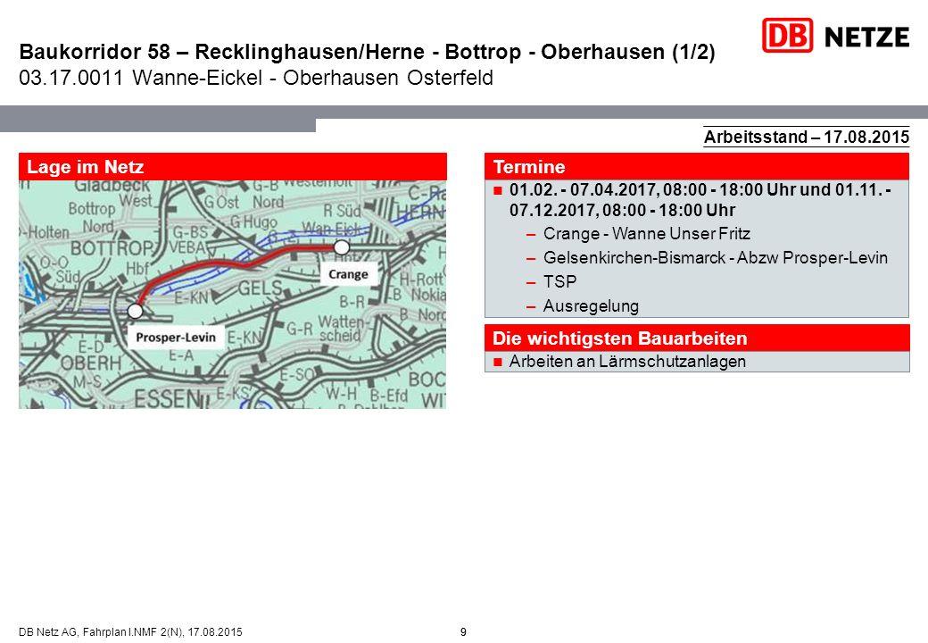 9DB Netz AG, Fahrplan I.NMF 2(N), 17.08.2015 Baukorridor 58 – Recklinghausen/Herne - Bottrop - Oberhausen (1/2) 03.17.0011 Wanne-Eickel - Oberhausen O