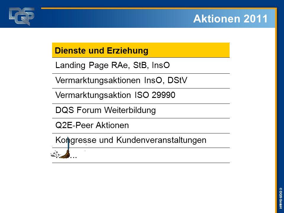 © DQS GmbH Aktionen 2011 Landing Page RAe, StB, InsO Vermarktungsaktionen InsO, DStV Vermarktungsaktion ISO 29990 DQS Forum Weiterbildung Q2E-Peer Akt