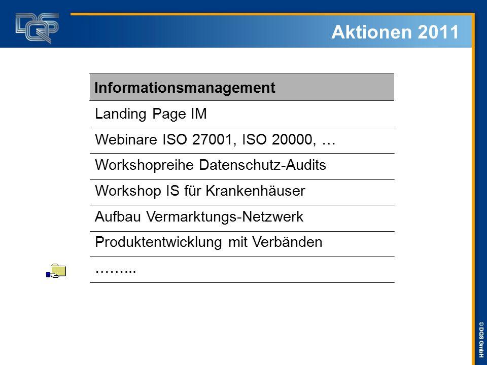© DQS GmbH Aktionen 2011 Landing Page IM Webinare ISO 27001, ISO 20000, … Workshopreihe Datenschutz-Audits Workshop IS für Krankenhäuser Aufbau Vermar
