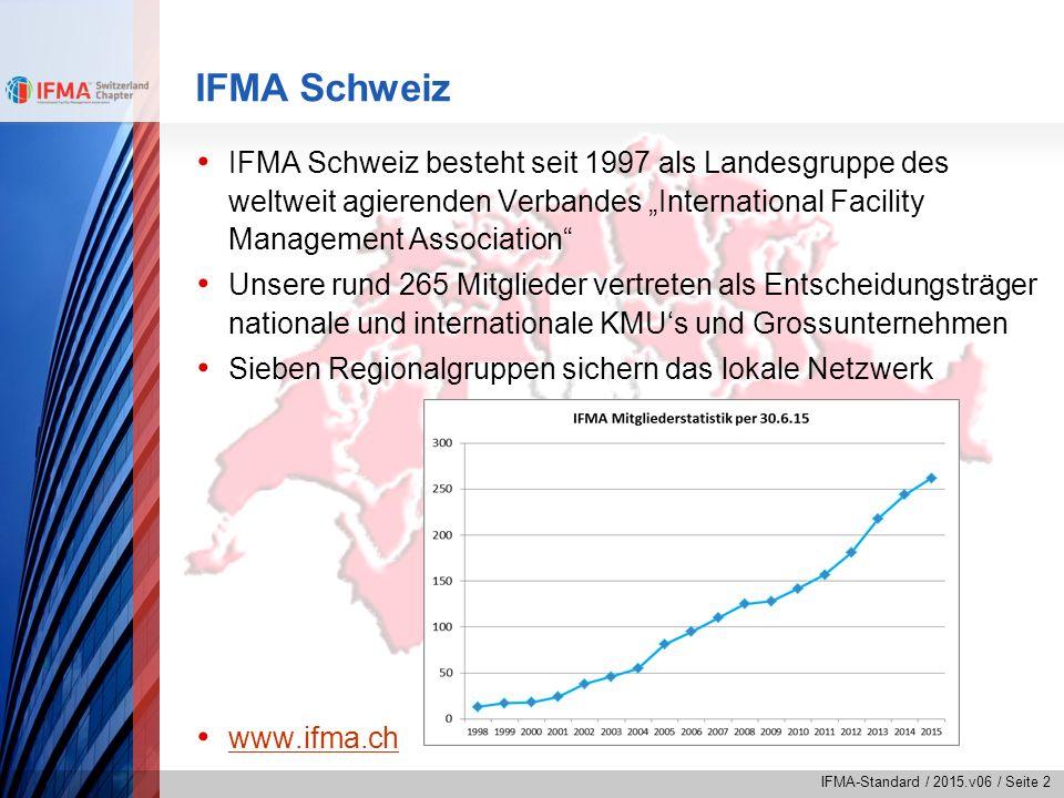 IFMA-Standard / 2015.v06 / Seite 3 IFMA International IFMA wurde 1980 in den USA gegründet Die Headquarters befinden sich in Houston, USA IFMA ist mit rund 24'000 Mitgliedern in 105 Ländern die weltweit grösste FM-Organisation IFMA-Mitglieder managen 3.7 Mrd.