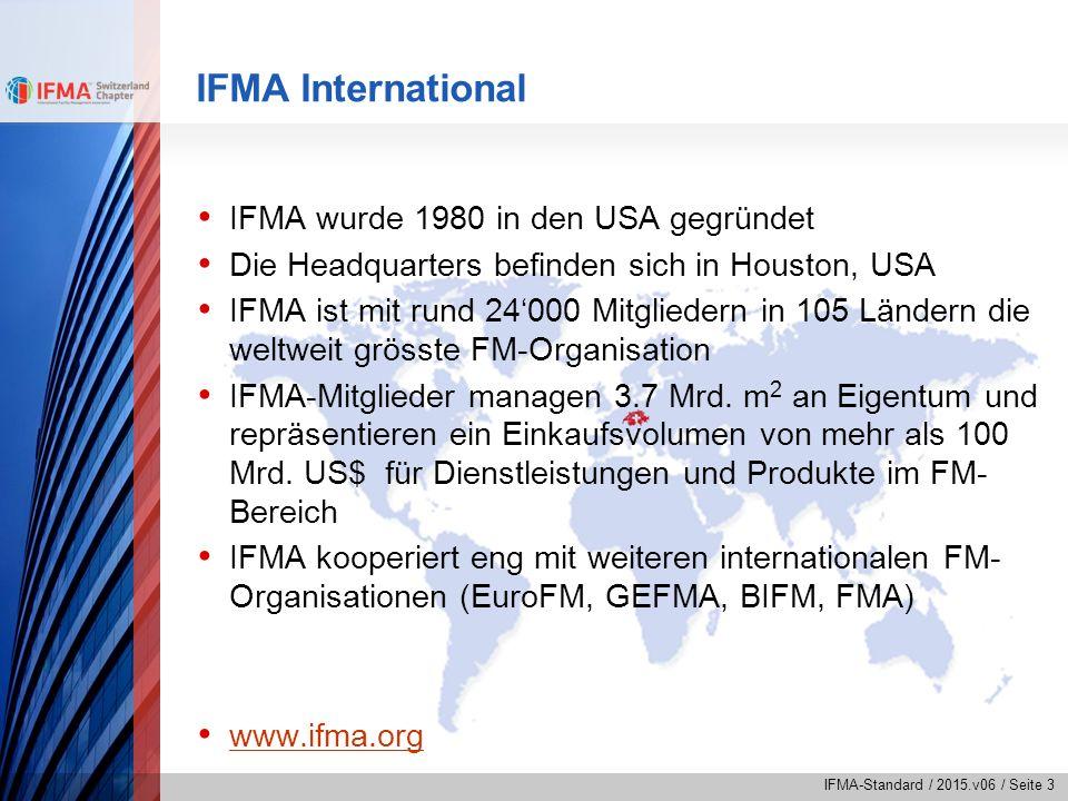 """IFMA-Standard / 2015.v06 / Seite 14 Netzwerk von IFMA VereinVertreterSpezielle Aufgabe BuildingSMARTRobert SchneiderVertreter IFMA im Verein BuildingSMART Berufsbildungs- kommission Peter GasserVertreter IFMA bei der Berufsbildungskommission in der FM-Branche fmproSusanna Caravatti-FelchlinAustausch mit Präsidium, Mitglied SVIT FMSusanna Caravatti-FelchlinAustausch mit Präsidium Forum Energie Zürich (FEZ) Tania MesserliVorstandsmitglied Bereiche Marketing und Aus- und Weiterbildung sowie Fachgruppe Inbetriebnahme GEFMARené SiggMitglied im GEFMA Arbeitskreis """"Nachhaltigkeit im FM KBOBMarkus Klopfstein Daniela Brühwiler Fachgruppe Bewirtschaftung KBOB/IPBRené SiggMitglied im Projektausschuss der KBOB/IPB Empfehlung """"Bauwerksdokumentation im Hochbau ISO TCRené SiggMitglied im Mirrorkommittee der ISO TC 267 FM SAHFPeter GasserMitglied Vertreter IFMA Schweiz Fachkommission SNBS (Standard Nachhaltiges Bauen Schweiz) René SiggKommissionsmitglied"""