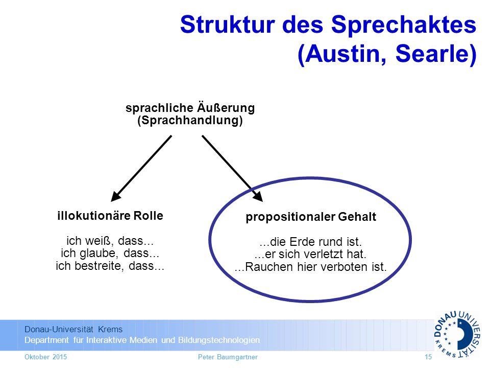 Donau-Universität Krems Department für Interaktive Medien und Bildungstechnologien Oktober 2015 sprachliche Äußerung (Sprachhandlung) illokutionäre Rolle ich weiß, dass...