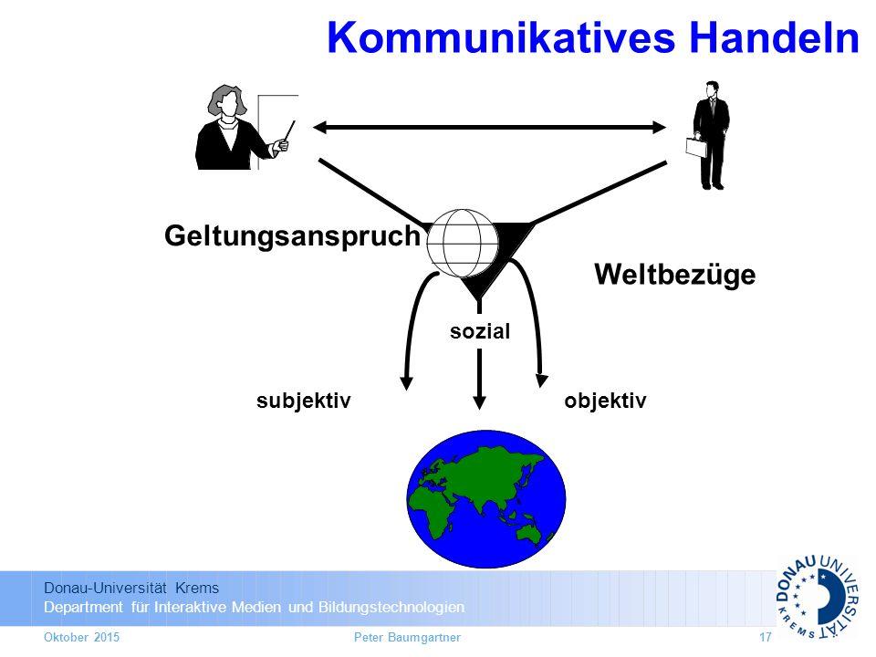 Donau-Universität Krems Department für Interaktive Medien und Bildungstechnologien Oktober 2015 Kommunikatives Handeln Geltungsanspruch Weltbezüge subjektivobjektiv sozial 17Peter Baumgartner