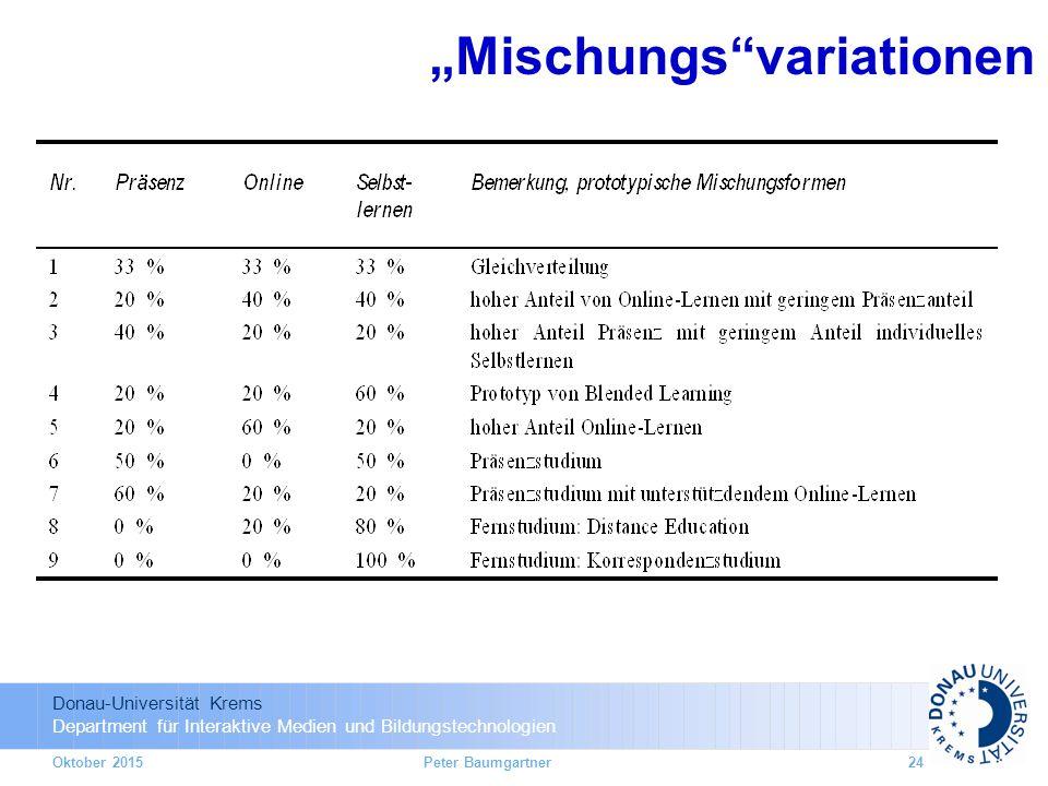 """Donau-Universität Krems Department für Interaktive Medien und Bildungstechnologien Oktober 2015 """"Mischungs variationen 24Peter Baumgartner"""