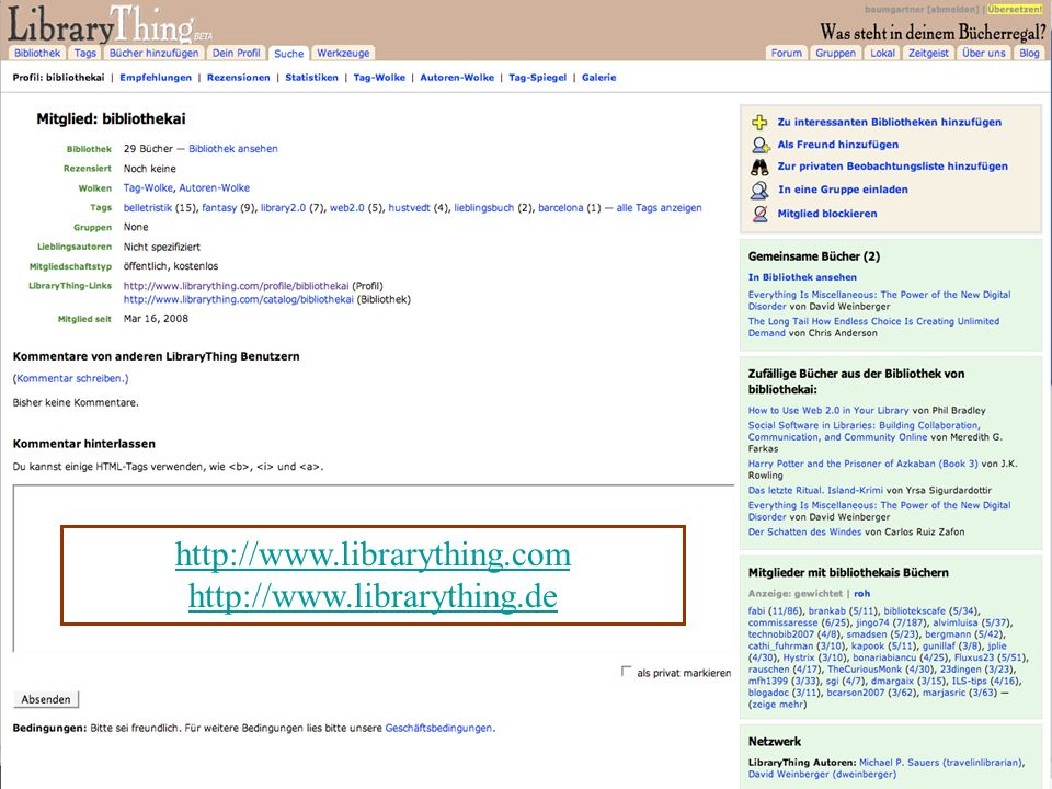 Donau-Universität Krems Department für Interaktive Medien und Bildungstechnologien Oktober 2015Peter Baumgartner41 http://www.librarything.com http://www.librarything.de
