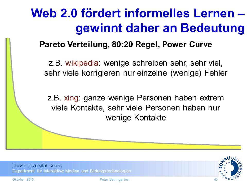 Donau-Universität Krems Department für Interaktive Medien und Bildungstechnologien Oktober 2015Peter Baumgartner45 z.B.