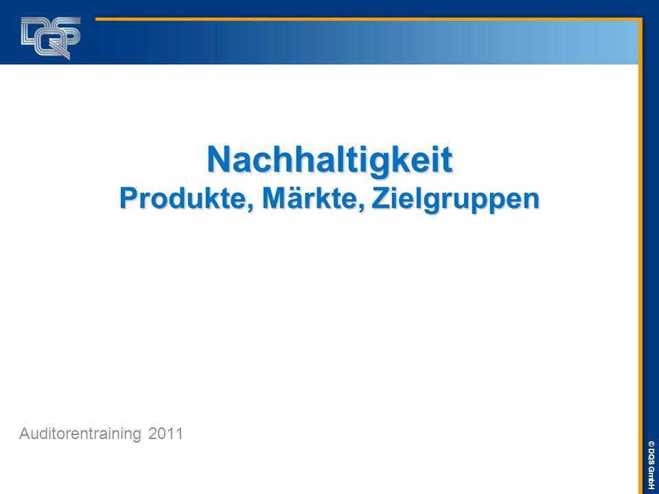© DQS GmbH Nachhaltigkeit Produkte, Märkte, Zielgruppen Auditorentraining 2011