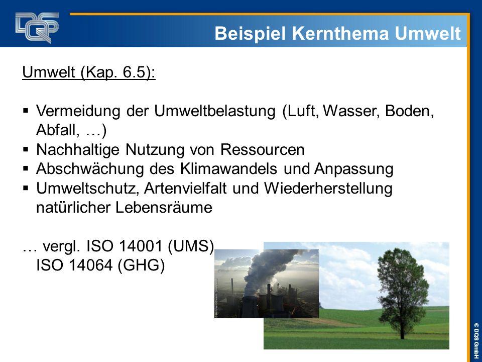 © DQS GmbH Beispiel Kernthema Umwelt Umwelt (Kap. 6.5):  Vermeidung der Umweltbelastung (Luft, Wasser, Boden, Abfall, …)  Nachhaltige Nutzung von Re