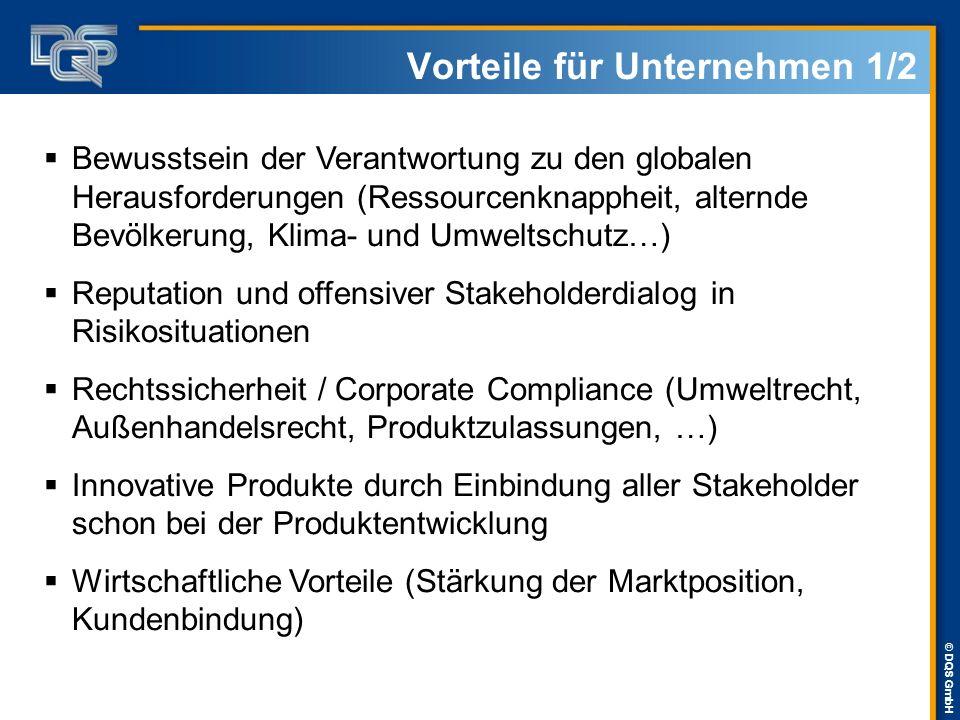 © DQS GmbH Vorteile für Unternehmen 1/2  Bewusstsein der Verantwortung zu den globalen Herausforderungen (Ressourcenknappheit, alternde Bevölkerung,