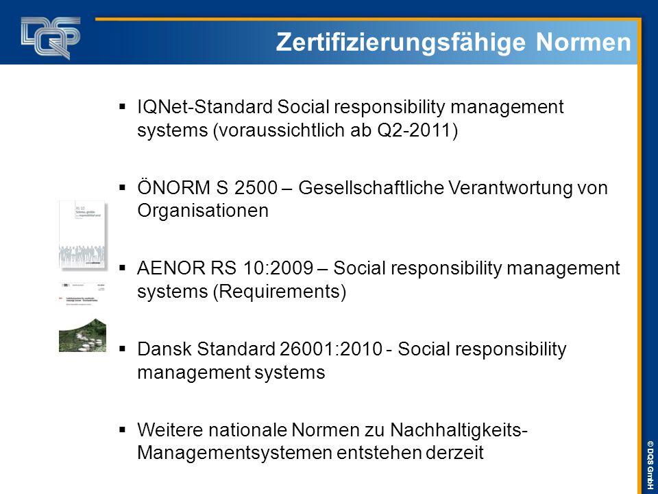 © DQS GmbH Zertifizierungsfähige Normen  IQNet-Standard Social responsibility management systems (voraussichtlich ab Q2-2011)  ÖNORM S 2500 – Gesell
