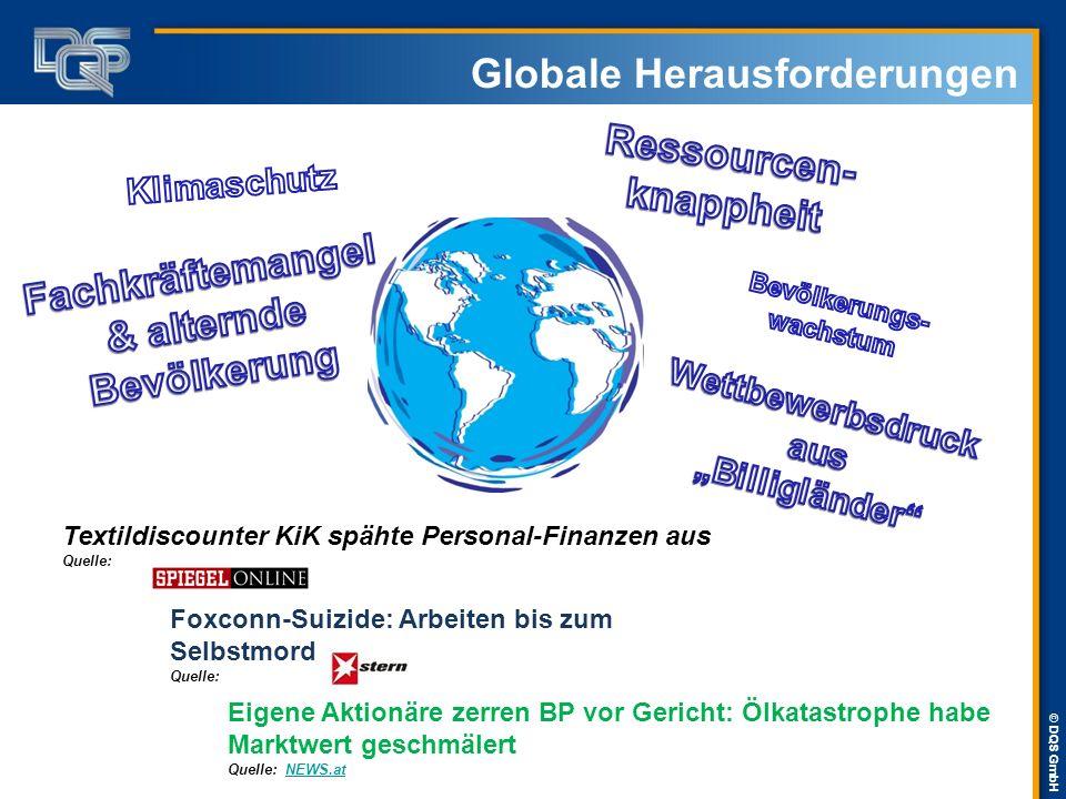 © DQS GmbH Globale Herausforderungen Textildiscounter KiK spähte Personal-Finanzen aus Quelle: Foxconn-Suizide: Arbeiten bis zum Selbstmord Quelle: Ei