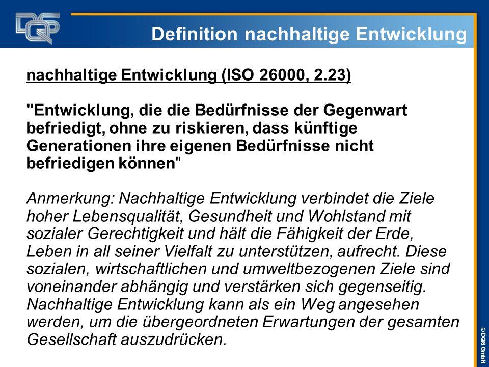 © DQS GmbH Positionierung der Unternehmen  Deutschland (100 umsatzstärkste Unternehmen): - 83% veröffentlichen Nachhaltigkeitsinformationen - über 50% veröffentlichen separate NH-Berichte  Deutschland (DAX 30 Unternehmen): - über 80% veröffentlichen separate NH-Berichte  International (250 größte Unternehmen): - über 80% veröffentlichen separate NH-Berichte  GRI-Leitfaden G3 ist der wichtigste Standard für die Nachhaltigkeitsberichterstattung Quelle: KPMG-Handbuch zur Nachhaltigkeitberichterstattung 2008/09