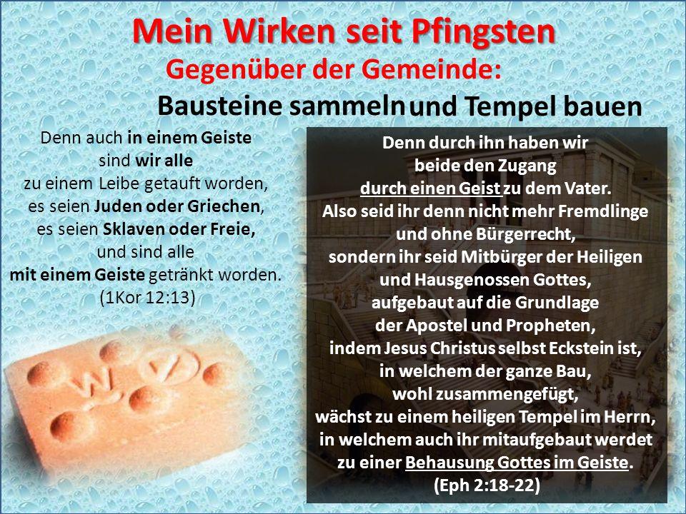 Gegenüber der Gemeinde: Bausteine sammeln Denn auch in einem Geiste sind wir alle zu einem Leibe getauft worden, es seien Juden oder Griechen, es seien Sklaven oder Freie, und sind alle mit einem Geiste getränkt worden.