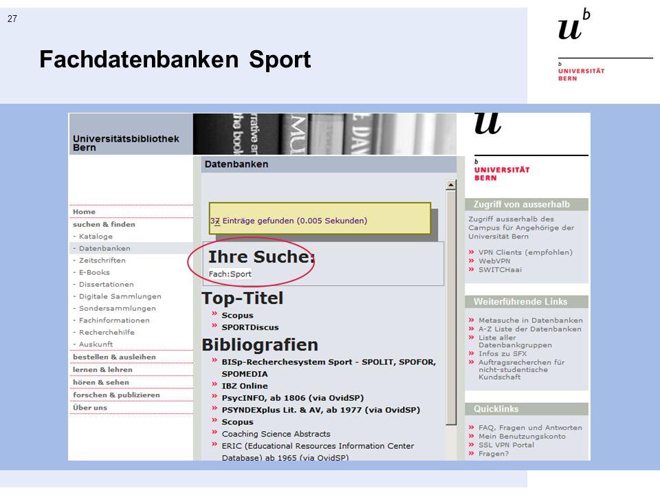 27 Fachdatenbanken Sport