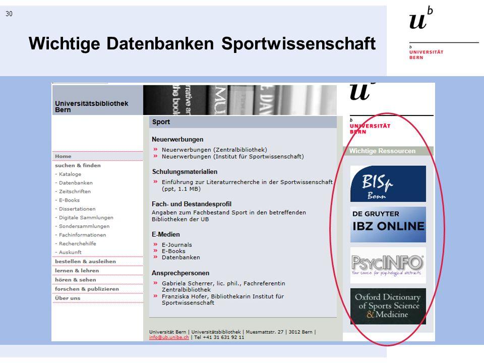 30 Wichtige Datenbanken Sportwissenschaft