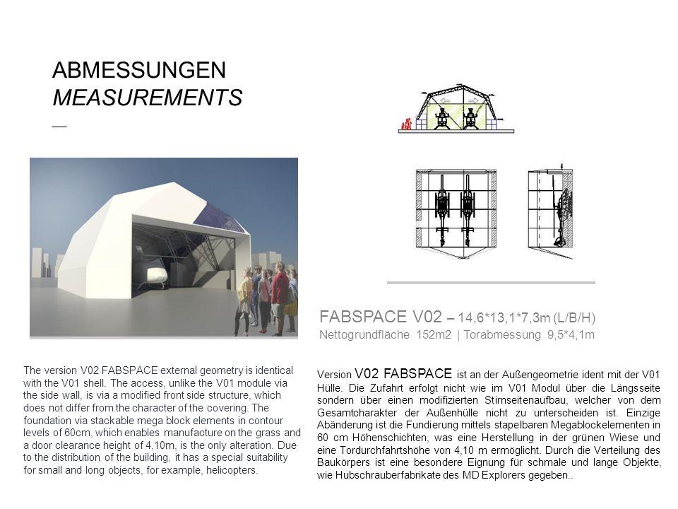 Version V02 FABSPACE ist an der Außengeometrie ident mit der V01 Hülle. Die Zufahrt erfolgt nicht wie im V01 Modul über die Längsseite sondern über ei