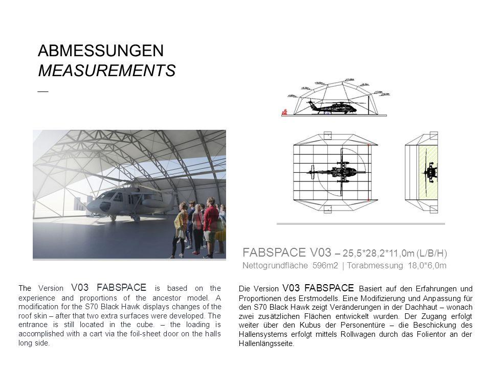 Die Version V03 FABSPACE Basiert auf den Erfahrungen und Proportionen des Erstmodells. Eine Modifizierung und Anpassung für den S70 Black Hawk zeigt V