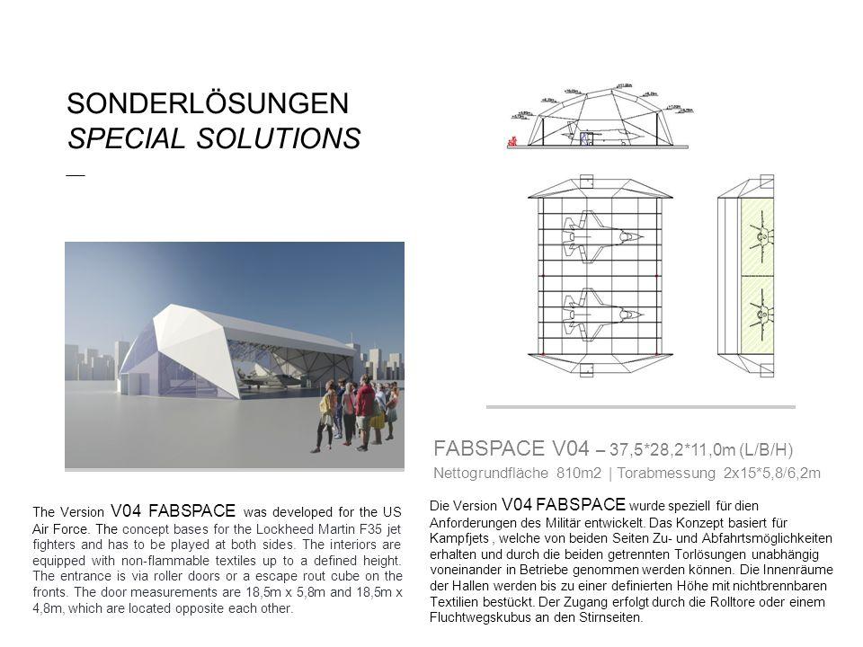 SONDERLÖSUNGEN SPECIAL SOLUTIONS ___ Die Version V04 FABSPACE wurde speziell für dien Anforderungen des Militär entwickelt. Das Konzept basiert für Ka