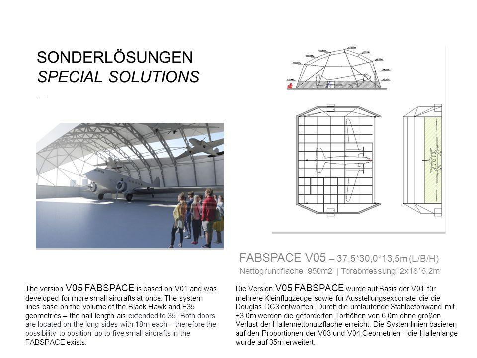 SONDERLÖSUNGEN SPECIAL SOLUTIONS ___ Die Version V05 FABSPACE wurde auf Basis der V01 für mehrere Kleinflugzeuge sowie für Ausstellungsexponate die die Douglas DC3 entworfen.