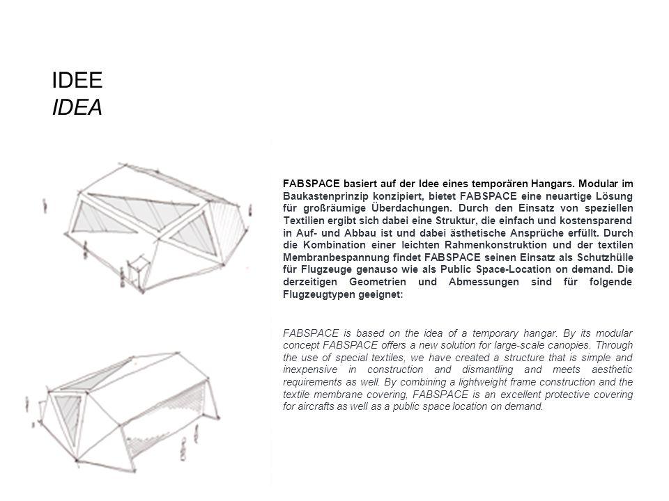 IDEE IDEA ___ FABSPACE basiert auf der Idee eines temporären Hangars. Modular im Baukastenprinzip konzipiert, bietet FABSPACE eine neuartige Lösung fü