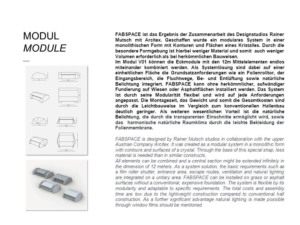 MODUL MODULE ___ FABSPACE ist das Ergebnis der Zusammenarbeit des Designstudios Rainer Mutsch mit Arcitex. Geschaffen wurde ein modulares System in ei