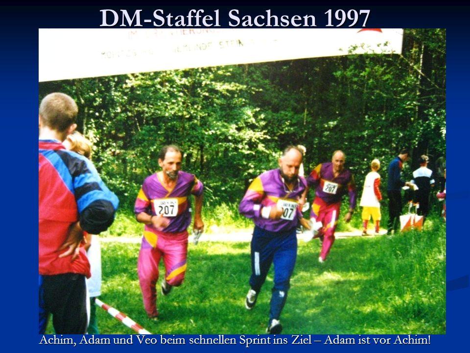 DM-Staffel Sachsen 1997 Achim, Adam und Veo beim schnellen Sprint ins Ziel – Adam ist vor Achim!