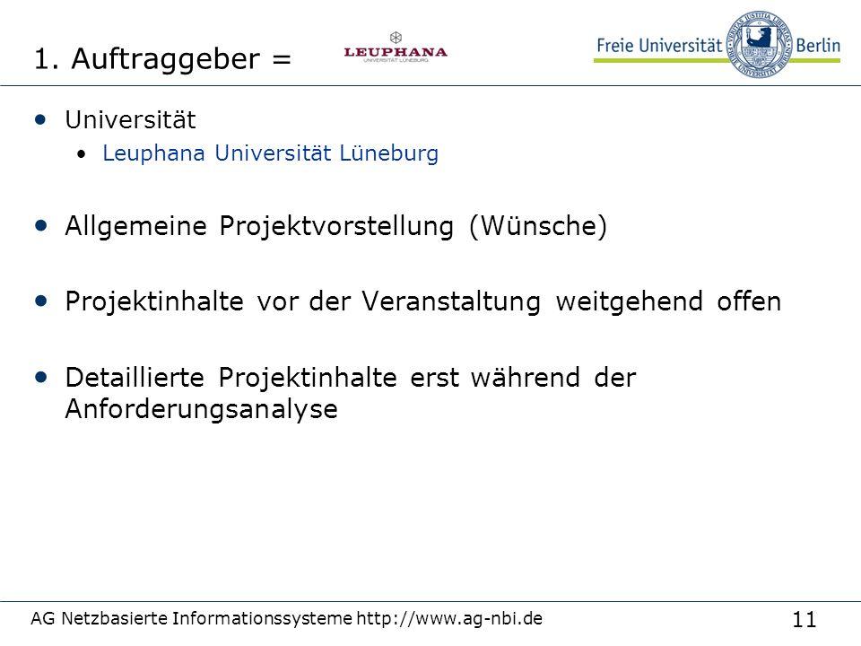 11 AG Netzbasierte Informationssysteme http://www.ag-nbi.de 1. Auftraggeber = Universität Leuphana Universität Lüneburg Allgemeine Projektvorstellung