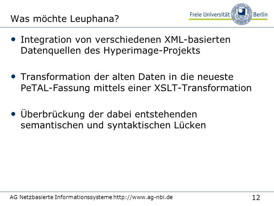 12 AG Netzbasierte Informationssysteme http://www.ag-nbi.de Was möchte Leuphana? Integration von verschiedenen XML-basierten Datenquellen des Hyperima
