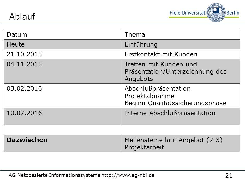 21 Ablauf AG Netzbasierte Informationssysteme http://www.ag-nbi.de DatumThema HeuteEinführung 21.10.2015Erstkontakt mit Kunden 04.11.2015Treffen mit K