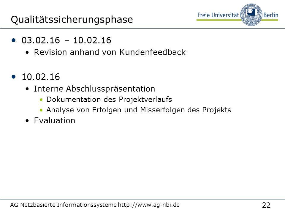 22 Qualitätssicherungsphase 03.02.16 – 10.02.16 Revision anhand von Kundenfeedback 10.02.16 Interne Abschlusspräsentation Dokumentation des Projektver