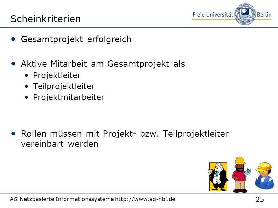 25 AG Netzbasierte Informationssysteme http://www.ag-nbi.de Scheinkriterien Gesamtprojekt erfolgreich Aktive Mitarbeit am Gesamtprojekt als Projektlei