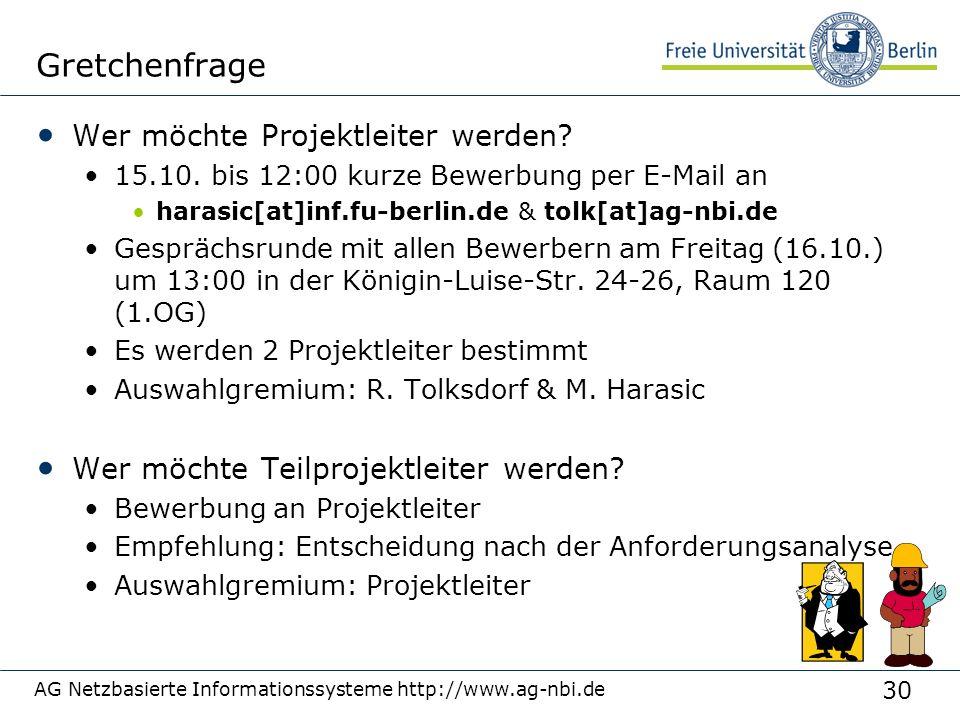 30 AG Netzbasierte Informationssysteme http://www.ag-nbi.de Gretchenfrage Wer möchte Projektleiter werden? 15.10. bis 12:00 kurze Bewerbung per E-Mail