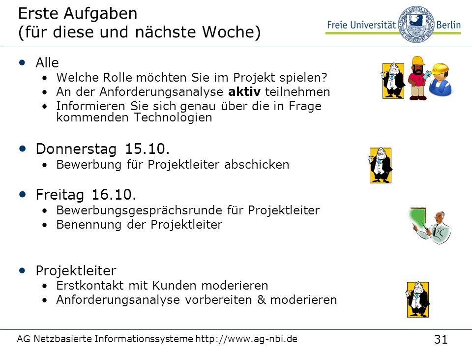 31 AG Netzbasierte Informationssysteme http://www.ag-nbi.de Erste Aufgaben (für diese und nächste Woche) Alle Welche Rolle möchten Sie im Projekt spie